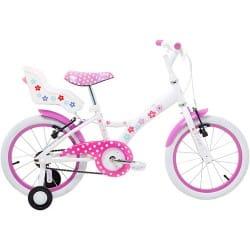 Bicicleta Infantil My Bike 16 Branca C/ Porta Boneca